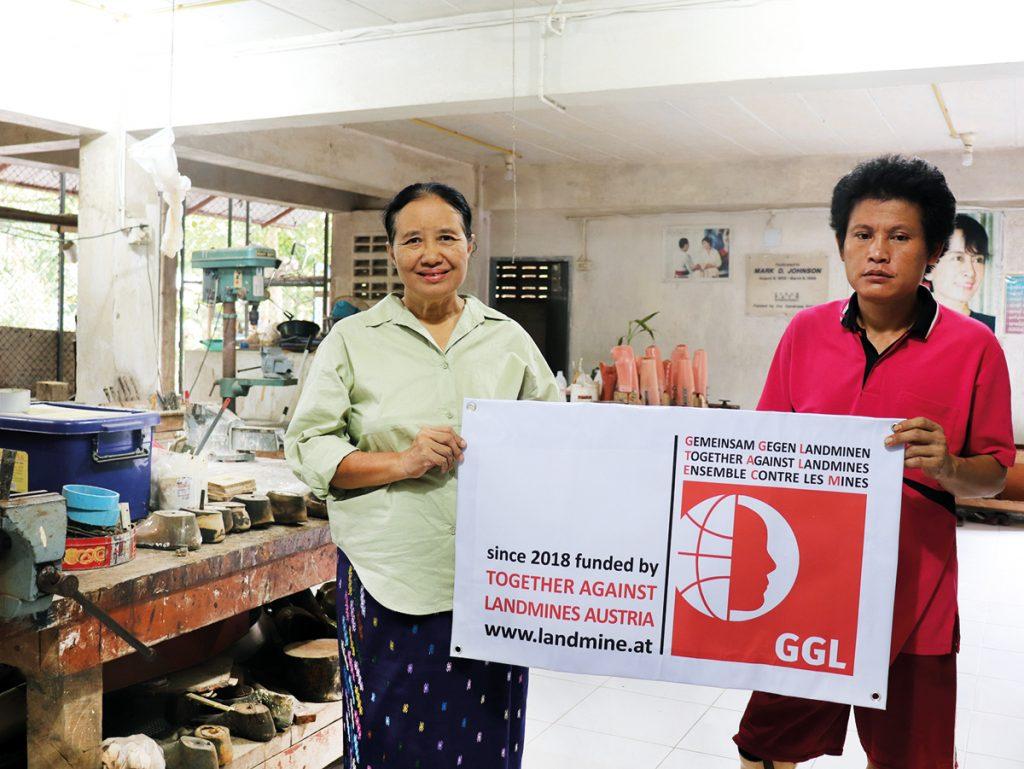 Dank an GGL - Seit 2018 finanziert GGL die Prothesenwerkstatt der Mae Tao Clinic.